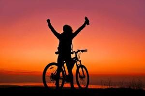 Mountainbike Klapprad Sonnenuntergang